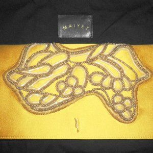 MAIYET Gold Beaded Silk Leather Clutch Purse $1K